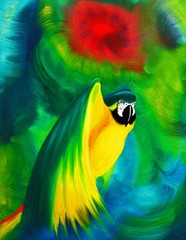 Pappagallo Ara Dipinto a Olio-Oil painting Macaw Parrot