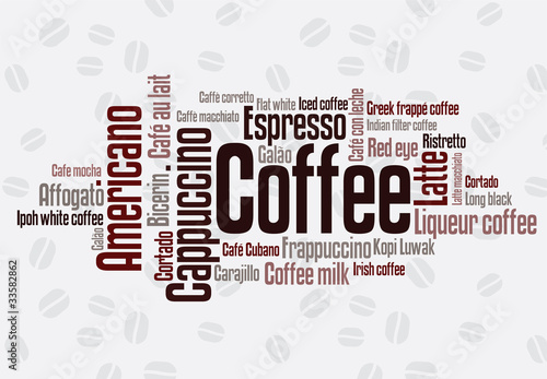 Sticker Wordcloud of coffee