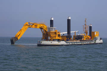 Excavators set out to sea to deepen the seabed