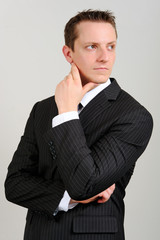 Caucasian man in suit