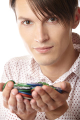 Man with casino chips
