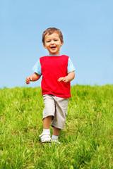 Laughing boy running