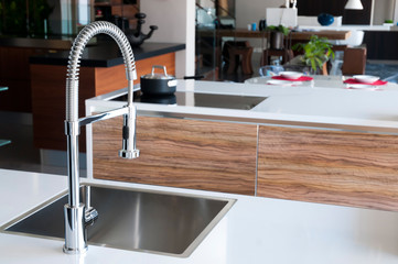 Shiny stainless steel faucet