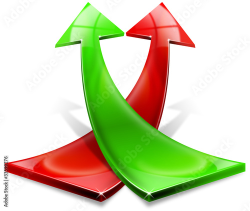 Red and green positive arrows
