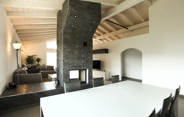 modern architecture , interior, view from dining table