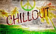 Chillout Grafitti auf altem Holzbrett