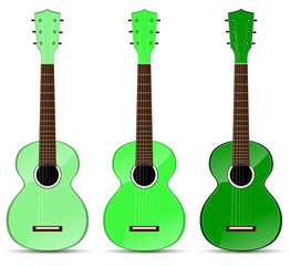 set of green classical acoustic guitar isolated on white
