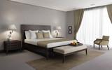 Fototapety Beige chic luxury bedroom 3d rendering, side view with breakfast