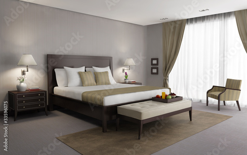 Beige chic luxury bedroom 3d rendering, side view with breakfast