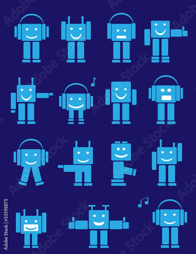 Set of blue cute emotional robots. Cartoon