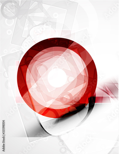 Abstract red round shape. Vector technology