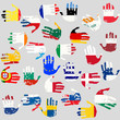 Hands with European Union countries flags