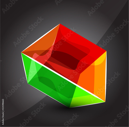Vector shiny transparent glass cube background