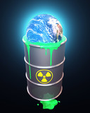 Planet earth in radioactive Waste