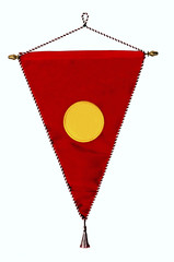 Stylish red pennant or triangle flag with bright yellow empty sp