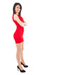 Beautiful young girl with red dress isolated on white