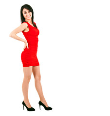 Girl with red dress isolated on white