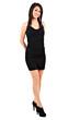 Full length beautiful woman with black dress