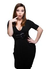 surprised woman in black dress