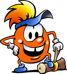 Hand-drawn Vector illustration of an Orange Gobling with a big h