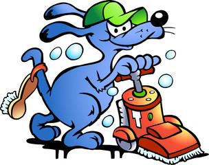 Hand-drawn Vector illustration of an Dog Carpet Cleaner