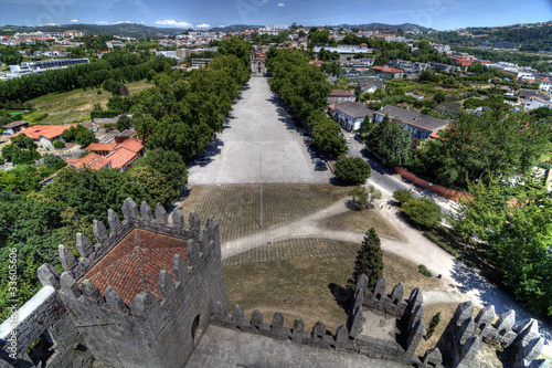 View of the Romanesque Chapel from Guimarães Castle, Portugal.