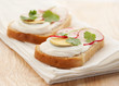 Sandwich with egg and radish