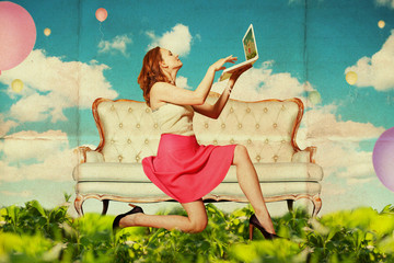 beautiful woman with book in clouds