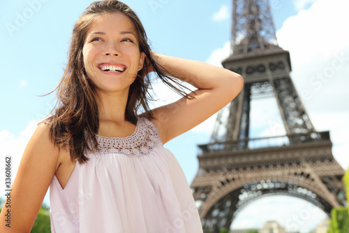 Paris travel woman tourist at Eiffel tower