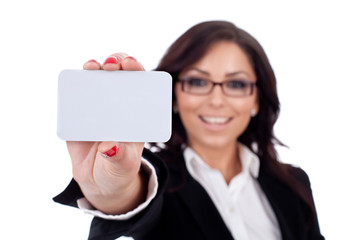 Businesswoman presenting her businesscard