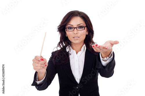 business woman conducting her team