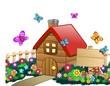 Casa Campagna con Cartello-Country House with Wood Panel-Vector