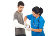 Doctor woman bandage injured hand man