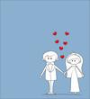 Постер, плакат: жених и невеста в любви вектор