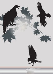 three eagles and maple branch