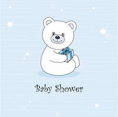 Tarjeta bebé niño. Peluche oso