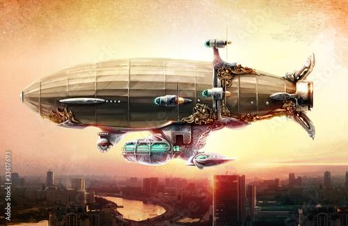 Dirigible balloon in the sky over a city - 33617693