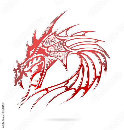 asia dragon and flames sign red color