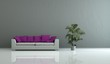 Wohndesign - Weisses Sofa mit lila Kissen