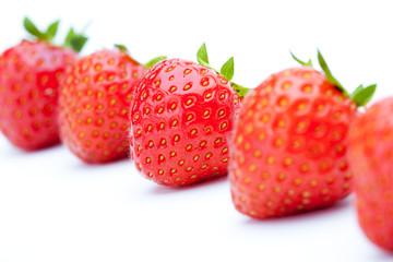 Line of fresh strawberries