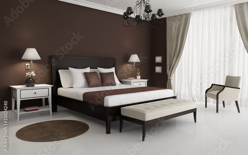 Classic, brown, luxury bedroom, with chandelier and sofa