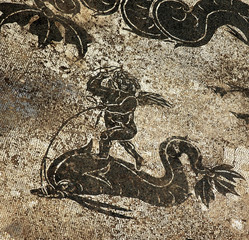 Ancient Roman Cupid Dolphin Mosaic Floor Ostia Antica Rome Italy