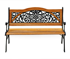 High quality stylish garden wooden and cast-iron bench isolated