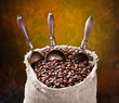 Sack of coffee beans and scoop. On a dark background.