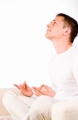 smart guy meditating