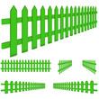 set of perspective green fence isolated on white