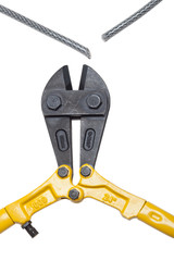 Bolt cutters with severed steel cable
