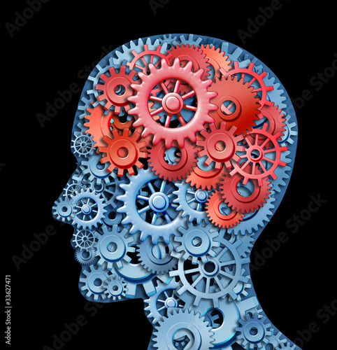 Human brain function represented by red and blue gears