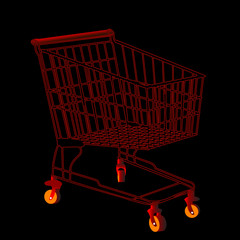 Red shopping trolley