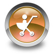 "Orange Glossy Pictogram ""Stroller / Baby Transport"""